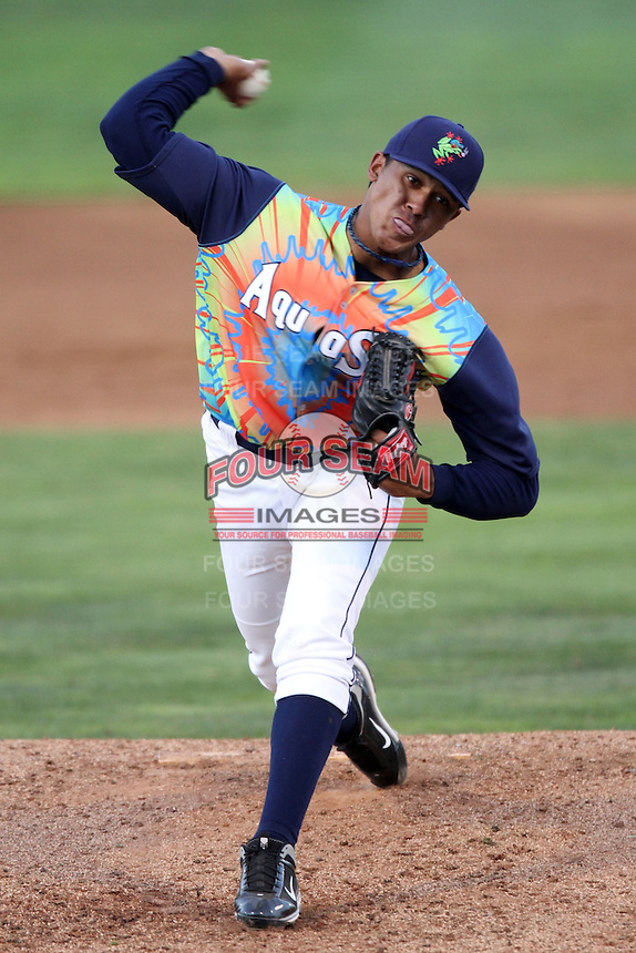 Everett Aquasox pitcher Jose Campos #34 pitches against the Tri-City Dust Devils at Everett Memorial Stadium on August 13, 2011 in Everett,Washington. Everett defeated Tri-City 6-4.(Larry Goren/Four Seam Images)