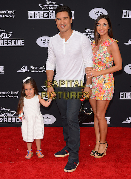 15 July 2014 - Hollywood, California - Mario Lopez, Courtney Mazza. Arrivals for the premiere of Disney's &quot;Planes: Fire and Rescue&quot; held at the El Capitan Theater in Hollywood, Ca. <br /> CAP/ADM/BT<br /> &copy;BT/ADM/Capital Pictures