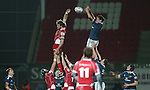 Munster lock Donncha O'Callaghan beats Scarlets lock Joe Snyman to the lineout ball. <br /> Celtic League<br /> Scarlets v Munster<br /> <br /> 01.03.14<br /> <br /> ©Steve Pope-SPORTINGWALES