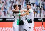 Jonas Hofmann (Bor. Moenchengladbach) (verdeckt) schiesst das 1:0 Tor und jubelt ausgelassen mit Florian Neuhaus (Bor. Moenchengladbach) (links), Breel Embolo (Bor. Moenchengladbach) (mitte) und Ramy Bensebaini (Bor. Moenchengladbach).<br /><br />27.06.2020, Fussball, 1. Bundesliga, Saison 2019/20, 34. Spieltag, Borussia Moenchengladbach - Hertha BSC Berlin, <br /><br />Foto: MORITZ MUELLER/POOL/via/Meuter/Nordphoto<br />Only for Editorial use