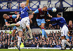 John Carew of Aston Villa gets in a header as Everton fail to cear the ball during the Premier League match at Goodison Park  Stadium, Liverpool. Picture date 27th April 2008. Picture credit should read: Simon Bellis/Sportimage