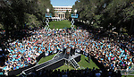 First Lady Michelle Obama speaks to a crowd of nearly 4,000 Wednesday morning, Oct. 3, 2012, on the quad at the University of Nevada, Reno campus..Photo by Cathleen Allison