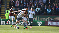 Manchester United's Ander Herrera shields the ball from Burnley's Stephen Ward<br /> <br /> Photographer Stephen White/CameraSport<br /> <br /> The Premier League - Burnley v Manchester United - Sunday 23rd April 2017 - Turf Moor - Burnley<br /> <br /> World Copyright &copy; 2017 CameraSport. All rights reserved. 43 Linden Ave. Countesthorpe. Leicester. England. LE8 5PG - Tel: +44 (0) 116 277 4147 - admin@camerasport.com - www.camerasport.com