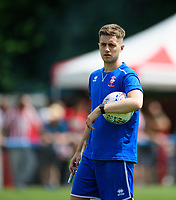 Lincoln City's assistant sports scientist Kieran Walker during the pre-match warm-up <br /> <br /> Photographer Chris Vaughan/CameraSport<br /> <br /> Football - Pre-Season Friendly - Lincoln United v Lincoln City - Saturday 8th July 2017 - Sun Hat Villas Stadium - Lincoln<br /> <br /> World Copyright &copy; 2017 CameraSport. All rights reserved. 43 Linden Ave. Countesthorpe. Leicester. England. LE8 5PG - Tel: +44 (0) 116 277 4147 - admin@camerasport.com - www.camerasport.com