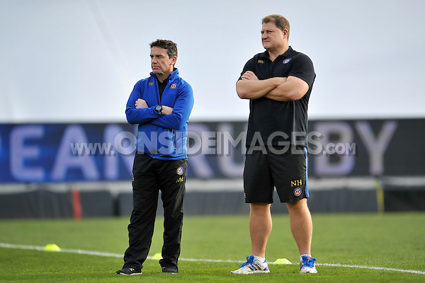 Bath Rugby Head Coach Mike Ford and first team coach Neal Hatley look on during the pre-match warm-up. European Rugby Champions Cup match, between RC Toulon and Bath Rugby on January 10, 2016 at the Stade Mayol in Toulon, France. Photo by: Patrick Khachfe / Onside Images