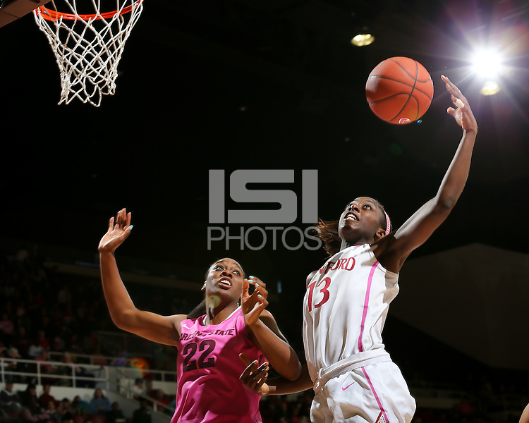 STANFORD, CA - February 10, 2013: Stanford Cardinal's Chiney Ogwumike during Stanford's game against Arizona State at Maples Pavilion in Stanford, California.  The Cardinal defeated the Sun Devils 69-45.