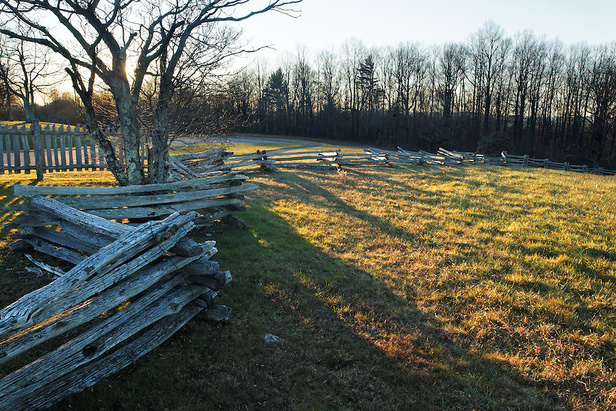 Split-rail fence at Groundhog Mountain Scenic Overlook, Blue Ridge Parkway, Virginia, USA