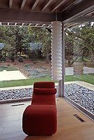 Interior of Riebe House looking out to yard. 1990 Restoration by Pierre Koenig. Carmel Valley. Photo April 2000.