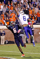 Duke cornerback Ross Cockrell (6) almost intercepts a pass over Virginia wide receiver Darius Jennings (6) during the game at Scott Stadium in Charlottesville, VA. Duke defeated Virginia 35-22. Photo/Andrew Shurtleff