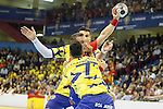 Spain's Victor Tomas (c) and Bosnia Herzegovina's Nikola Prce (f) and Marko Tarabochia during 2018 Men's European Championship Qualification 2 match. November 2,2016. (ALTERPHOTOS/Acero)