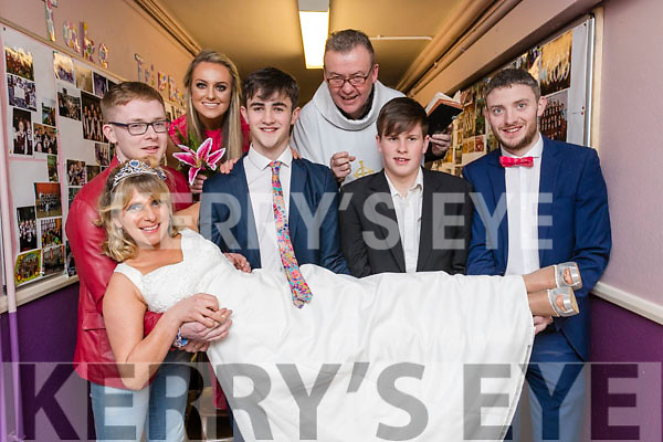 Na Gaeil novelty act l-r: Sorcha Ó Shuilleabháin, Cian Quirke, Kate Sheehy, Niall O'Mahony, Jimmy Adams, Sean O'Donoghue and Diarmuid Herlihy at the Scor Sinsear county finals at Mhuire Gan Smal, Castleisland on Saturday night.