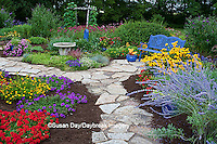63821-21801 Blue bench, blue pots, butterfly house, bird bath and stone path in flower garden.  Black-eyed Susans (Rudbeckia hirta) Red Dragon Wing Begonias (Begonia x hybrida)  Homestead Purple Verbena (Verbena canadensis), Red Verbena, New Gold Lantana (Lantana camara) Butterfly Bushes, Russian Sage (Perovskia atriplicifolia), Moon vine on trellis  Marion Co., IL