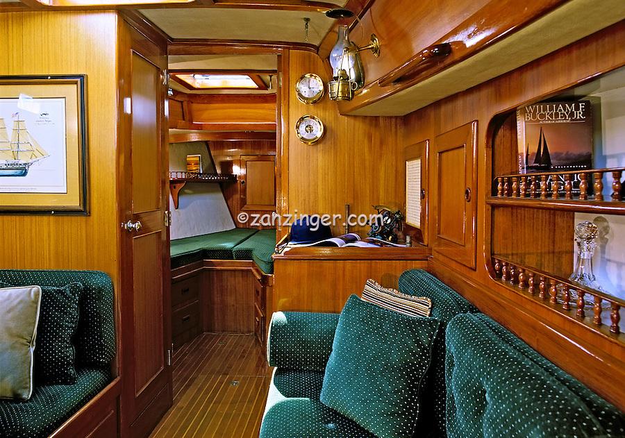44' Peterson, Sailboat, Teak, Interior, Dining, Salon, Forward Berth