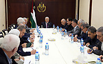 Palestinian President Mahmoud Abbas chairs a meeting of the Central Committee of the Fatah movement, in the West Bank city of Ramallah, on June 22, 2019. Photo by Thaer Ganaim