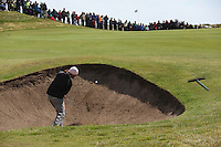 Johan Edfors playing his third shot from the bunker on the second hole at the final round at the 3 Irish open in Co Louth Golf Club...Photo: Fran Caffrey/www.golffile.ie..