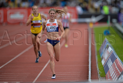 26.06.2016. Alexander Stadium, Birmingham, England. British Athletics Championships. Rosie Clark on her way to winning the 3000m Steeple chase.
