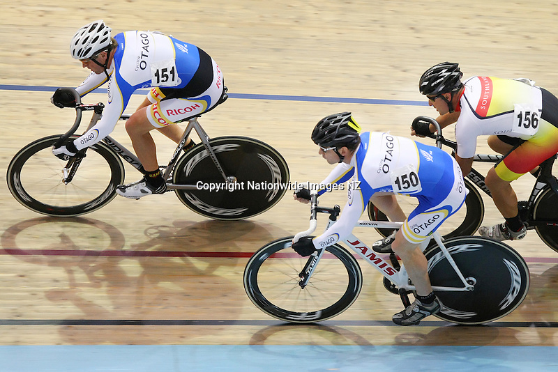 Otago's Justin Scott, front, Sam Park and Southland's Scott Milne in the Masters Keirin at the Age Group Track Cycling Championships, Stadium Southland Velodrome, Invercargill, New Zealand, Friday, March 01, 2013. Credit:NINZ / Dianne Manson.