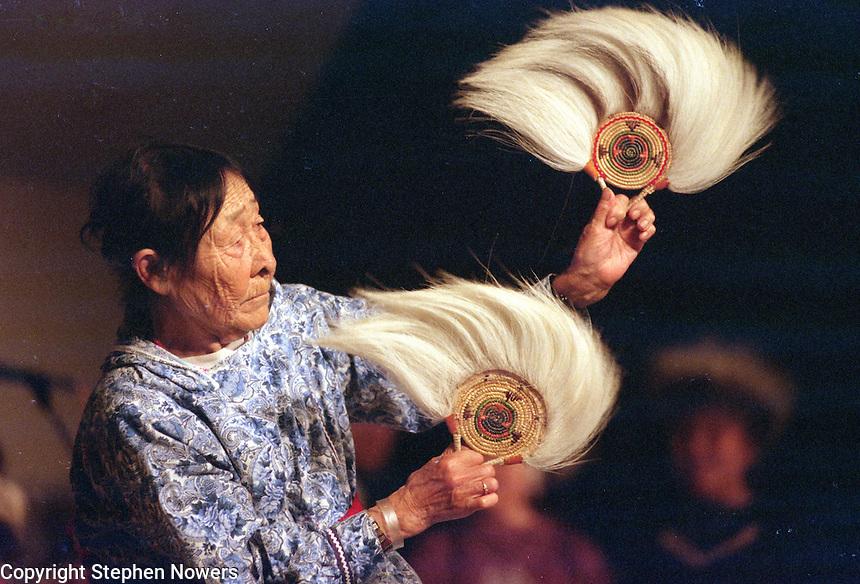Elder MaryAnn Sundown dances at Bethel's Camai dance festival in 1999.