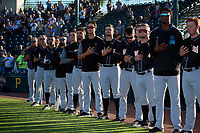 Jupiter Hammerheads players stand for the national anthem before a Florida State League game against the Bradenton Marauders on April 20, 2019 at LECOM Park in Bradenton, Florida.  Shown are Todd Pratt, Bradenton defeated Jupiter 3-2.  (Mike Janes/Four Seam Images)