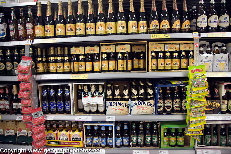 Imported beers on sale on supermarket shelves