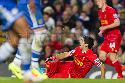 29.12.2013  London, England.   Liverpool's Luis SUAREZ loses his shorts after a challenge during the Premier League game between Chelsea and Liverpool from Stamford Bridge.