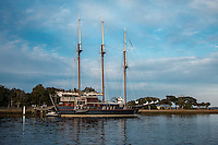 The Peacemaker, originally named Avany, was built on a riverbank in southern Brazil using traditional methods and tropical hardwoods, and was launched in 1989. <br /> <br /> The original owner and his family motored in the southern Atlantic Ocean before bringing the ship up through the Caribbean to Savannah, Georgia, where they intended to rig it as a three-masted staysail Marconi rigged motor sailer. The work was never done, however, and in the summer of 2000, it was purchased by the Twelve Tribes, a religious group with 50 or so communities in North and South America, Europe, and Australia. They spent the next seven years replacing all of the ship&rsquo;s mechanical and electrical systems and rigging it as a barquentine. The refit vessel set sail for the first time in the spring of 2007, under the name Peacemaker.