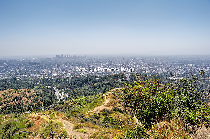 A view from a peak at Griffith Park, Hollywood, CA. The smog layer in Los Angeles clearly seen.