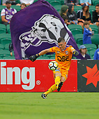 25th March 2018, nib Stadium, Perth, Australia; A League football, Perth Glory versus Melbourne Victory; Goalkeeper Liam Reddy of the Perth Glory clears the ball upfield during the first half