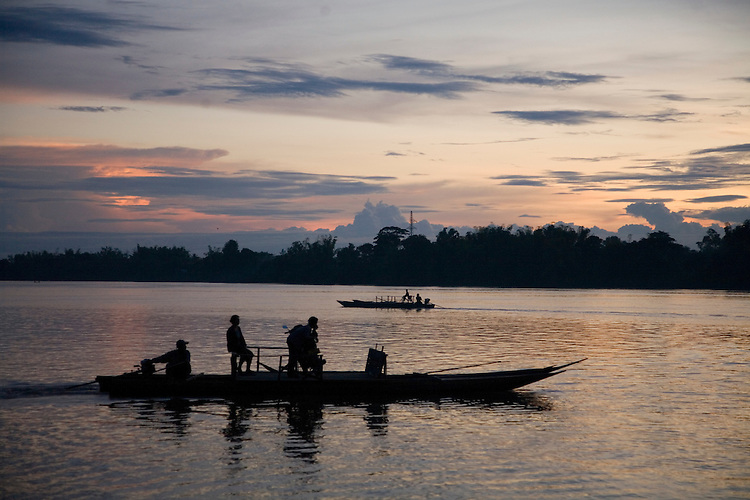 Sunset over the Mekong River in southern Laos