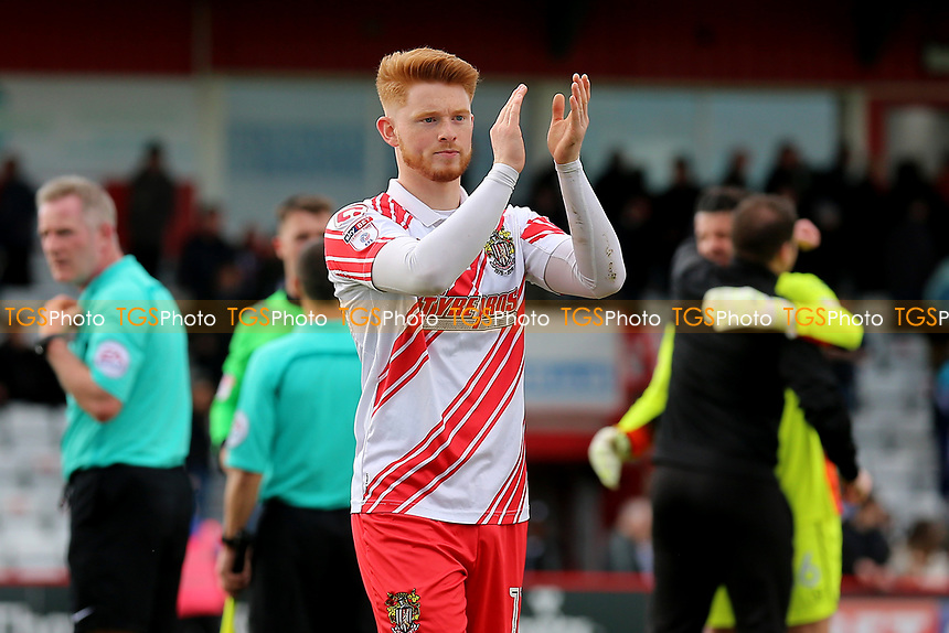 Dale Gorman of Stevenage celebrates victory during Stevenage vs Barnet, Sky Bet EFL League 2 Football at the Lamex Stadium on 1st April 2017