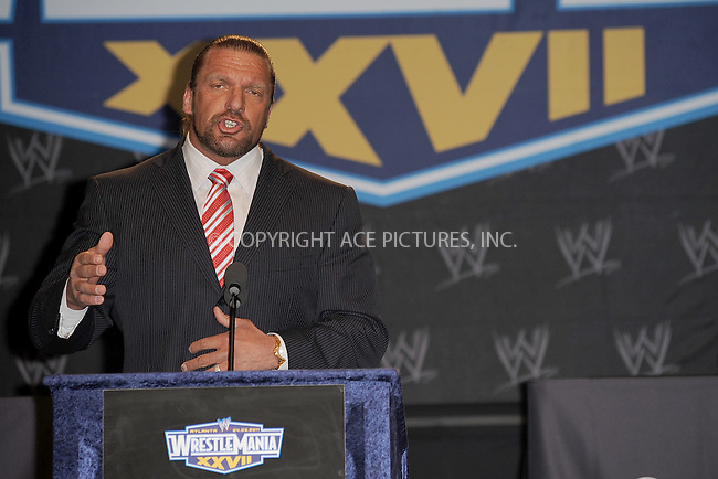 WWW.ACEPIXS.COM . . . . . .March 30, 2011...New York City...Triple H attends the WWE  Wreslemania XXVII Press Conference at the Hard Rock Cafe on  March 30, 2011 in New York City....Please byline: KRISTIN CALLAHAN - ACEPIXS.COM.. . . . . . ..Ace Pictures, Inc: ..tel: (212) 243 8787 or (646) 769 0430..e-mail: info@acepixs.com..web: http://www.acepixs.com .