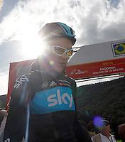 Christopher Froome after the stage of La Vuelta 2012 between Lleida-Lerida and Collado de la Gallina (Andorra).August 25,2012. (ALTERPHOTOS/Paola Otero) /NortePhoto.com<br /> <br /> **CREDITO*OBLIGATORIO** <br /> *No*Venta*A*Terceros*<br /> *No*Sale*So*third*<br /> *** No*Se*Permite*Hacer*Archivo**<br /> *No*Sale*So*third*