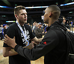 SIOUX FALLS, SD: MARCH 7: Mike Daum, left, from South Dakota State University is congratulated by Tre'Shawn Thurman from Omaha following the Men's Summit League Basketball Championship Game on March 7, 2017 at the Denny Sanford Premier Center in Sioux Falls, SD. South Dakota State defeated Omaha 79-77. (Photo by Dave Eggen/Inertia)