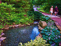 Whirlpool garden pond in the rock garden at Inniswood Garden in Westerville Ohio