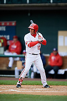 Harrisburg Senators designated hitter Yadiel Hernandez (12) at bat during the first game of a doubleheader against the New Hampshire Fisher Cats on May 13, 2018 at FNB Field in Harrisburg, Pennsylvania.  New Hampshire defeated Harrisburg 6-1.  (Mike Janes/Four Seam Images)