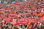 Football: Test Match, Liverpool FC - Borussia Dortmund. Liverpool fans hold scarves aloft as teams are introduced in their exhibition match on July 19, 2019 at Notre Dame Stadium. <br /> Tim Vizer/DPA