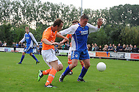 "VOETBAL: LEMMER: Sportpark ""De Rien"", 21-09-2013, CVVO - VVI uitslag 2-2, Jitze Lindeboom #6 | VVI, Chalong de Bruin #9 | CVVO, ©foto Martin de Jong"