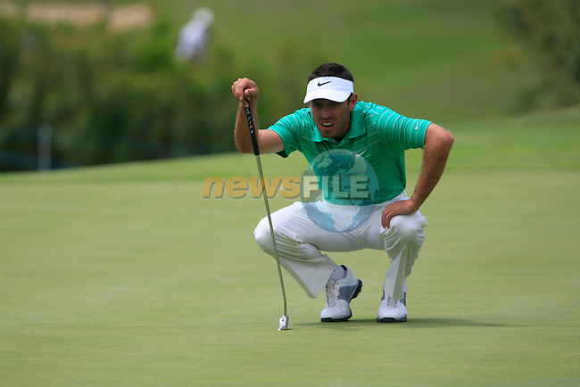Charl Schwartzel (RSA) lines up his putt on the 1st green during the afternoon session on Day 2 of the Volvo World Match Play Championship in Finca Cortesin, Casares, Spain, 20th May 2011. (Photo Eoin Clarke/Golffile 2011)