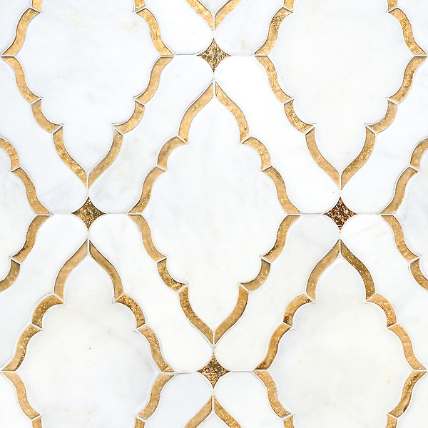 Josephine, a waterjet mosaic shown in Venetian honed Afyon White and both honed and polished 24K Gold Glass, is part of the Aurora™ Collection by Sara Baldwin for New Ravenna.