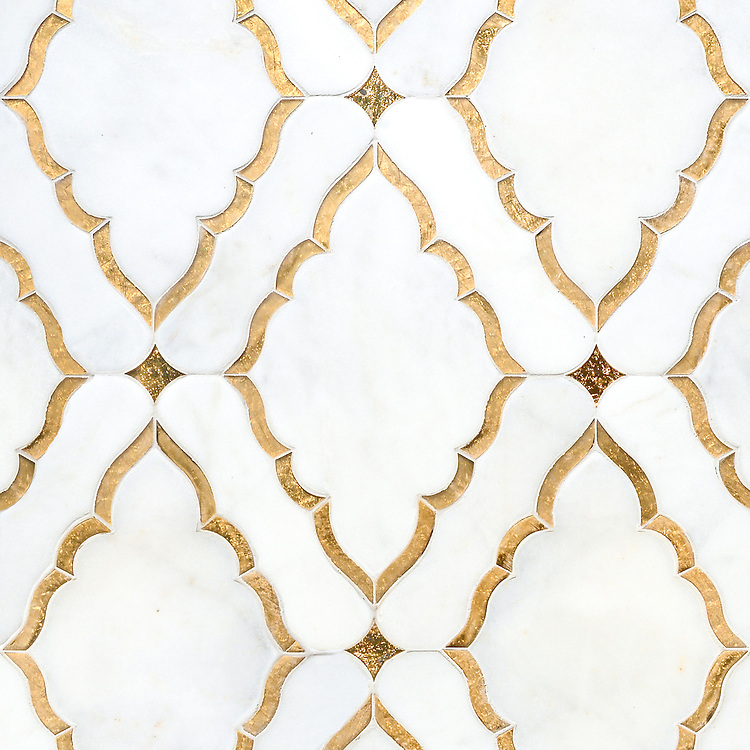 Josephine, a waterjet mosaic shown in Venetian honed Afyon White and both honed and polished 24K Gold Glass, is part of the Aurora® collection by Sara Baldwin for New Ravenna.