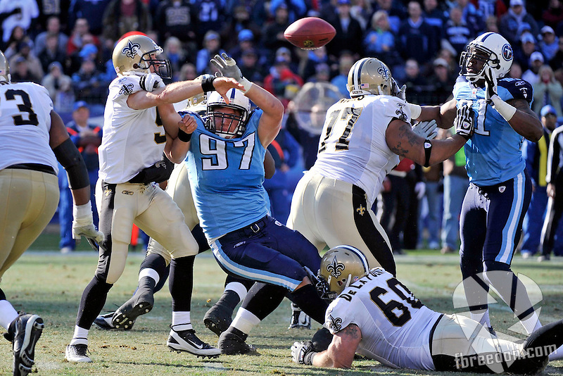 in the second quarter of an NFL football game on Sunday, Dec. 11, 2011, in Nashville, Tenn. (AP Photo/Frederick Breedon)
