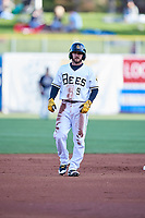 Shane Robinson (9) of the Salt Lake Bees takes a lead during the game against the El Paso Chihuahuas in Pacific Coast League action at Smith's Ballpark on May 1, 2017 in Salt Lake City, Utah. (Stephen Smith/Four Seam Images)