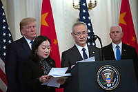 Liu He, China's vice premier, delivers remarks before he and United States President Donald J. Trump sign a trade agreement between the United States and China in the East Room of the White House in Washington D.C., U.S., on Wednesday, January 15, 2020.  <br /> <br /> Credit: Stefani Reynolds / CNP/AdMedia