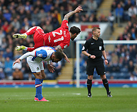 Bristol City's Marlon Pack climbs over the back of Blackburn Rovers' Liam Feeney<br /> <br /> Photographer Stephen White/CameraSport<br /> <br /> The EFL Sky Bet Championship - Blackburn Rovers v Bristol City - Monday 17th April 2017 - Ewood Park - Blackburn<br /> <br /> World Copyright &copy; 2017 CameraSport. All rights reserved. 43 Linden Ave. Countesthorpe. Leicester. England. LE8 5PG - Tel: +44 (0) 116 277 4147 - admin@camerasport.com - www.camerasport.com