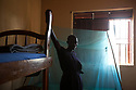 Uganda - Adjumani - A South Sudanese orphan stands in her room. <br /> Created in 1994, the orphanage is managed by South Sudanese International Widows Association to Save Orphans and moved in February 2017 from the South Sudanese city of Kajo-Keji to Uganda because of security reasons. It currently hosts 55 children in the city of Adjumani and an additional 27 in Palorinya refugee camp.