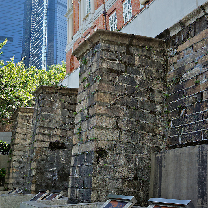 The granite retaining wall remains unchanged although the building Itself is substantially different from the original 'Beaconsfield'.  The French Mission, Central, Hong Kong.