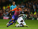Sergio Aguero of Manchester City skips past Kolo Toure of Celtic during the Champions League Group C match at the Celtic Park Stadium, Glasgow. Picture date: September 28th, 2016. Pic Simon Bellis/Sportimage