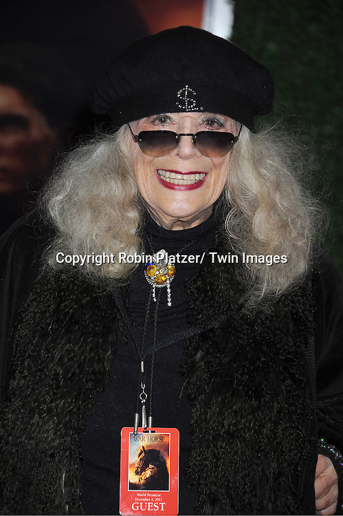 "Sylvia Miles attends the world premiere of ""War Horse"" on December 4, 2011 at Avery Fisher Hall in New York City."