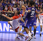 12.01.2013 Granollers, Spain. IHF men's world championship, prelimanary round. Picture show Issam Tej in action during game between France vs Tunisia at Palau d'esports de Granollers