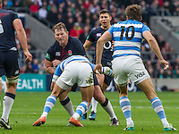Dylan Hartley takes the ball in to contact, England v Argentina in an Old Mutual Wealth Series, Autumn International match at Twickenham Stadium, London, England, on 26th November 2016. Full Time score 27-14